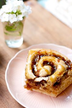 """Sticky Buns with a Peach-Rum Filling and Caramel Sauce Glaze ... a wonderful recipe from this blog, """"That's So Vegan""""."""