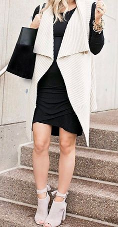 black and white outfit / bag + dress + knit cardi + heels