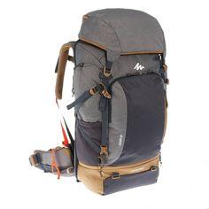 aefacb750fdd9 Mochila Trekking TRAVEL500 50 litros Hombre admite candado gris