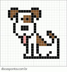 Doces Pontos: Cachorro Cross Stitch For Kids, Mini Cross Stitch, Cross Stitch Animals, Pony Bead Patterns, Beading Patterns, Cross Stitch Designs, Cross Stitch Patterns, Cross Stitching, Cross Stitch Embroidery