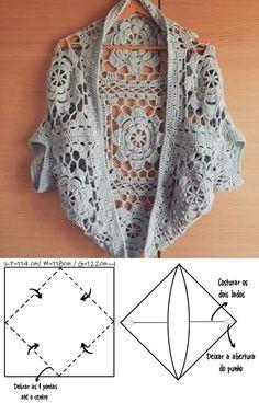 Crochet Cardigan Pattern, Crochet Jacket, Crochet Blouse, Knit Crochet, Crochet Patterns, Free Crochet, Crochet Shawls And Wraps, Crochet Woman, Crochet Fashion