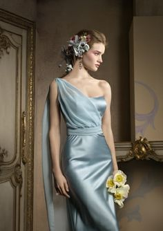 Sheath One Shoulder Long Stretch Satin Bridesmaid Dresses for Brides