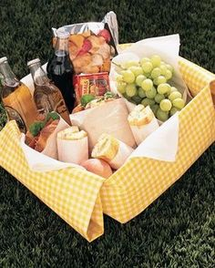 Picnic ideas.... perfect date night : making a simple box into a special treat with fabric.