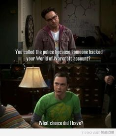 Sheldon sure loves his World of Warcraft