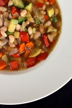 Vegetable soup with white beans. This sounds so warm and delicious, perfect for this rainy day!
