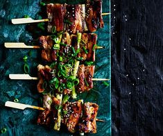 These barbecued Japanese pork belly skewers will keep you coming back for more, especially when glazed with the sweet and sticky tare sauce. Miso Eggplant, Eggplant Chips, Lamb Ribs, Pork Ribs, Barbecued Lamb, Chicken Katsu Curry, Sticky Pork, Pork Skewers, Gourmet