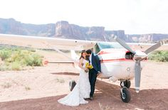 Photography: McKenzi Dye - www.mfeltphotography.com/   Read More on SMP: http://www.stylemepretty.com/2016/03/22/the-coolest-untraditional-wedding-youll-ever-see-the-bride-flew-a-plane-to-the-ceremony/