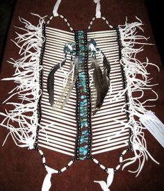 WHITE BREASTPLATE with TURQUOISE, Native American Artifacts | Native American Clothes | Native American Regalia | Native American Tomahawk | Native American Headdress | Cherokee Visions