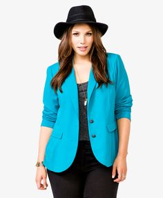 Pleated Pocket Blazer | FOREVER21 PLUS. Digging that color.