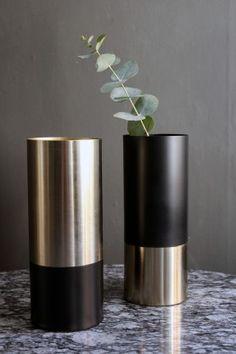 Black & Gold Pipe Vase - View All - Home Accessories Plants In Bottles, India Home Decor, Pvc Pipe Crafts, Custom Metal Fabrication, Bedroom False Ceiling Design, Flower Backdrop, Kitchen Art, Vases Decor, Black Gold