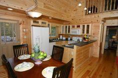 Linville Kitchen/Dinning designed and built by Blue Ridge Log Cabins #moderndesign #moderncabin #loghome #modularhome