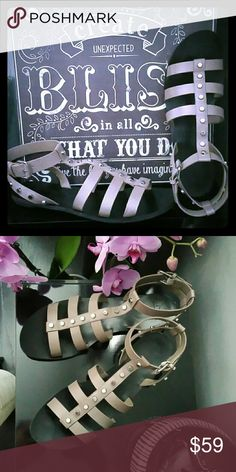 Mark Fisher Erin gladiator sandals shoes 10 m Worn one time so practically new. They are a beautiful well-constructed Gladiator sandal by Marc Fisher in a a size 10. The color says gray with silvertone studs, but I think its more of a taupe.  Please ask all questions prior to purchasing thank you Shoes Sandals