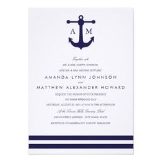 nautical wedding invitations | Nautical Navy Wedding Invitation from Zazzle.com