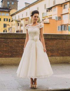 4f2b73390 1950s Vintage Ankle Length Wedding Dresses Cap Sleeve Jewel Neck Flower  Belt A Line Lace Short