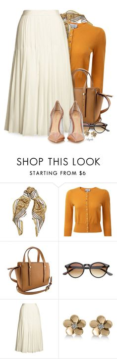 """Wear a Pleated Skirt"" by anjelakewell ❤ liked on Polyvore featuring Alessandra Rich, Pure Collection, ZeroUV, Canvas by Lands' End, Allurez and Gianvito Rossi"