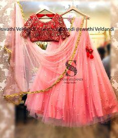 Stunning red color designer blouse and blush pink color lehenga. Blouse with hand embroidery mirror work. Half Saree Lehenga, Lehenga Blouse, Bridal Lehenga Choli, Anarkali Dress, Sarees, Lengha Blouse Designs, Half Saree Designs, Indian Bridal Outfits, Indian Dresses