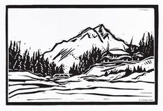 Mount+Engadine+Winter+Hand+Pulled+Lino+Relief+by+LindaCoteStudio,+$7.00