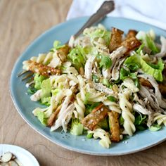 Chinese Chicken Salad with sesame dressing and fried wontons and a pasta punch
