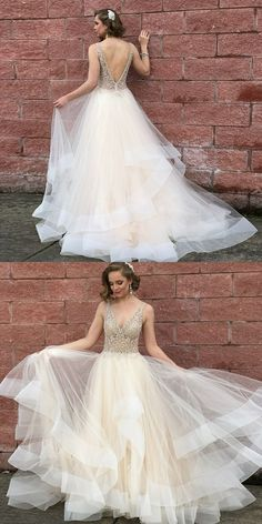 A-Line V-Neck Backless Light Champagne Prom Dress with Beading, unique light champagne long prom dresses, elegant backless tiered evening gowns