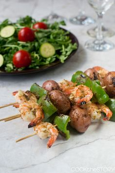 Grilled Shrimp and Potato Skewers from @cookthestory
