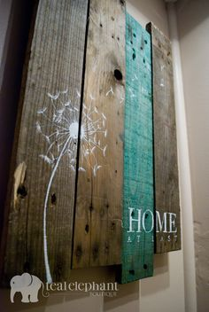 Pallet Art Dandelion Welcome Home Wall by TealElephantBoutique, $29.99