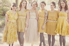 vintage mismatched bridesmaid dressesbridesmaid