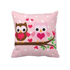 Casal bonito da coruja eu te amo personalizado travesseiros
