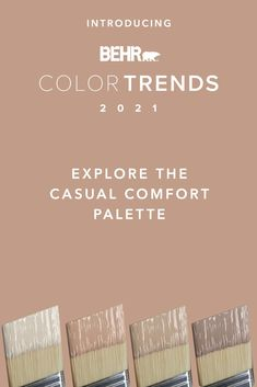 Bring everyday comfort to your home with these neutral paint colors, that are just naturally cozy, from our Casual Comfort palette. Explore the earthy yet refined tones of Modern Mocha N150-4, Almond Wisp PPU5-12, Canyon Dusk S210-4 and Sierra N240-4 from our BEHR® Color Trends 2021, to inspire an effortless calm. Click below to see more.