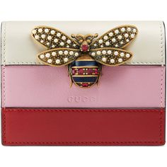 Gucci Queen Margaret Leather Card Case ($495) ❤ liked on Polyvore featuring bags, wallets, leather card case wallet, real leather wallets, gucci wallet, snap wallet and colorful leather wallets