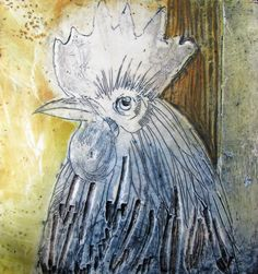 Poultry portrait II 200x200mm Encaustic on board