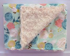 Baby Girl Minky Blanket-Spring Blooms Flowers-Mint Teal Coral Floral-Modern Nursery-Designer Fabric-Baby Shower Gift-Baby Bedding