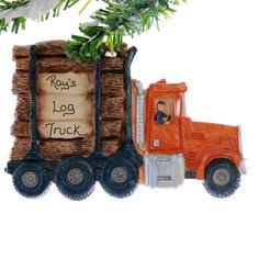 Orange Log Truck Christmas Ornament   by Christmaskeeper on Etsy, $13.95