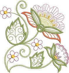 Pat Williams Embroidery Design: Pretty Jacobean Floral 5.05 inches H x 4.84 inches W