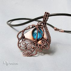 Wire pendant copper pendant wire jewelry girlfriend gift by Artual