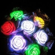 1 Piece New Romantic Simulation Rose with Leaves LED Night Light Rose Light Lamp kawin