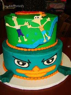 Disney Phineas and Ferb Perry the Platypus Birthday Cake. So cute.  Of all the stuff I have to watch being a Nanny, I have to say I love Phineas and Ferb most!