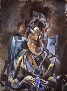 Couseuse, 1910 (oil)   Pablo Picasso