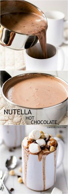Nutella is a staple in desserts worldwide, using a spoon straight out the jar is not the only way to eat this delicious treat. Here are 20 different ways to incorporate Nutella into treats like cookies, fudge, crepes, and more! Yummy Drinks, Delicious Desserts, Dessert Recipes, Yummy Food, Tasty, Juice Drinks, Nutella Hot Chocolate, Hot Chocolate Recipes, Nutella Drink