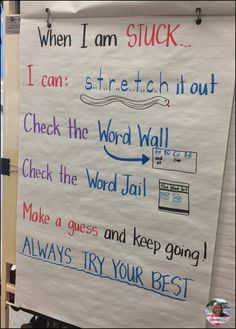 When I am stuck - a writing/spelling anchor chart that lays out exactly what a student needs to do when they are stuck on a word they can't spell.
