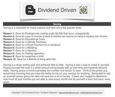 Dividend Driven | Saving