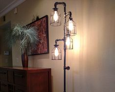 Pipe Floor Lamp 4-fixture Living Room by VintagePipeLamps on Etsy