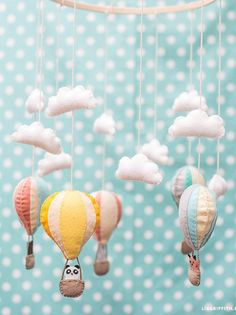 Wool Felt Kit, DIY Hot Air Balloon, Baby Mobile, as seen on Lia Griffith's Blog, Nursery Decor, Baby Shower Gift, Needlework, Sewing Kit