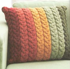 Chunky Wool Cable Cushion Knitting Pattern 16 ~ Knit in Strips ! Great Pattern | eBay