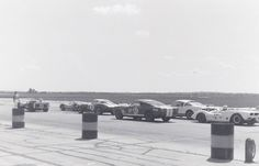 """Independence Kansas SCCA Nationals, July, 1967. The """"Big Iron"""" l to r: Dick Durant - Durant Special (the Winner); Jack Hinkle - Porsche 906; Dave Dooley - Corvette L-88; Brad Brooker - GT350; Stuart Conklin - GT350; George Koehne - Cooper-Buick (exhaust stacks barely visible); Bob Montana - McKee-Hemi."""