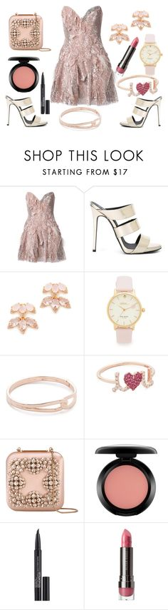 """""""Copper cool"""" by hillarymaguire ❤ liked on Polyvore featuring Trash-Couture, Giuseppe Zanotti, Kate Spade, Sydney Evan, Manolo Blahnik, MAC Cosmetics, Smashbox, LORAC, fabulous and fashionset"""