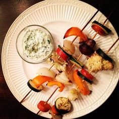 Skewered Veggies and Herb Yogurt Dip! Health Recipe to keep you or get you  back on track! www.farmfoodieandfitness.com