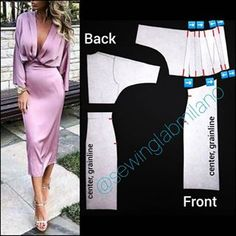 ENG➡️dear here is the pattern of the dress you sent us! start from a basic block with darts. first, draw the dolman sleeve… Evening Dress Patterns, Dress Sewing Patterns, Clothing Patterns, Sewing Patterns Free, Pattern Drafting Tutorials, Look Fashion, Diy Fashion, Fashion Dresses, Diy Clothing