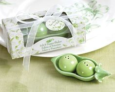 Wedding favor: Two Peas in a Pod - Ceramic Salt and Pepper Shakers in Ivy Print Gift Box, $2.90/each for 50
