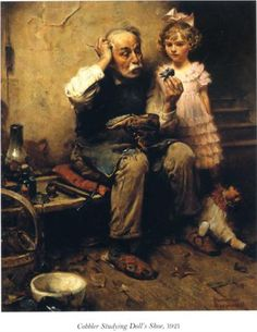 Cobbler Studying Doll's Shoe - Norman Rockwell