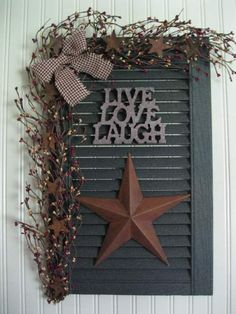 Old shutters used in primitive country decor